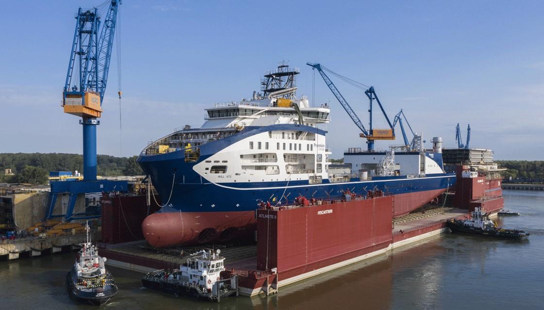 Prysmian completes hull of new cable laying vessel Leonardo da Vinci